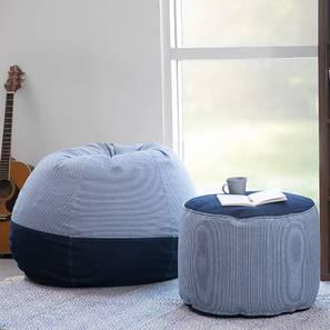 Baggo Stripes Beanbag Lounge Set (Blue, Large Size, With Beans Variant) by Urban Ladder