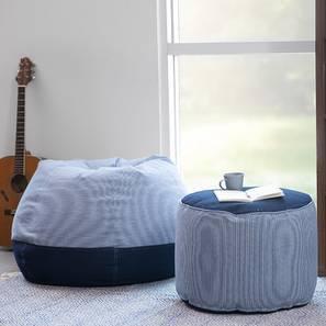 Baggo Stripes Beanbag Lounge Set (Blue, Standard Size, With Beans Variant)