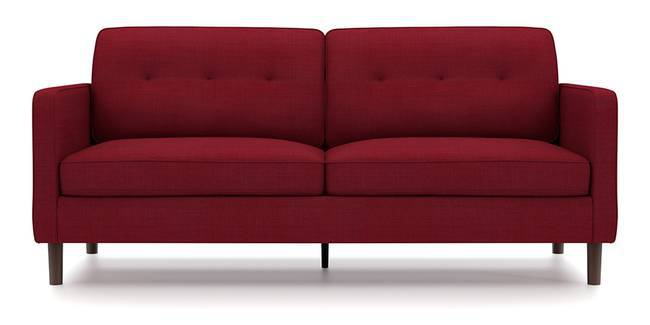 Optimus Sofa (Red, Fabric Sofa Material, Regular Sofa Size, Soft Cushion Type, Regular Sofa Type, Master Sofa Component, Yes Tufting, Round Wooden Leg Design, Standard Arm Arm Set)