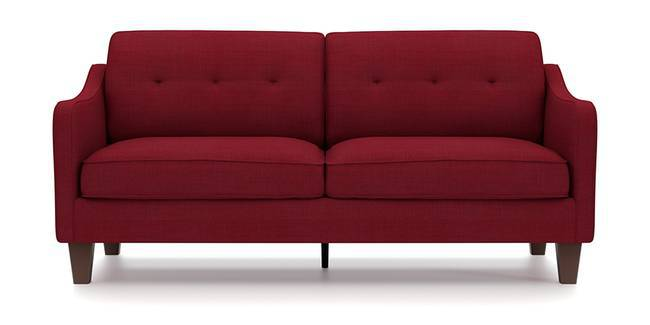 Optimus Sofa (Red, Fabric Sofa Material, Regular Sofa Size, Soft Cushion Type, Regular Sofa Type, Master Sofa Component, Yes Tufting, Tapered Wooden Leg Design, Swept Arm Arm Set)