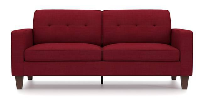 Optimus Sofa (Red, Fabric Sofa Material, Regular Sofa Size, Soft Cushion Type, Regular Sofa Type, Master Sofa Component, Yes Tufting, Tapered Wooden Leg Design, Wide Arm Arm Set)