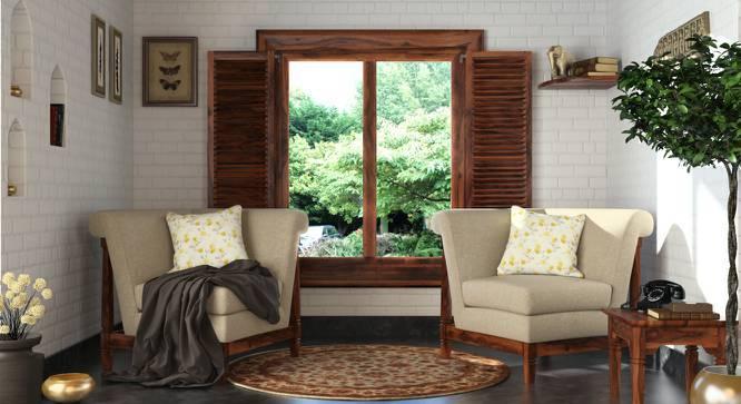 Malabar Wooden Sofa Standard Set 1-1 (Macadamia Brown) by Urban Ladder