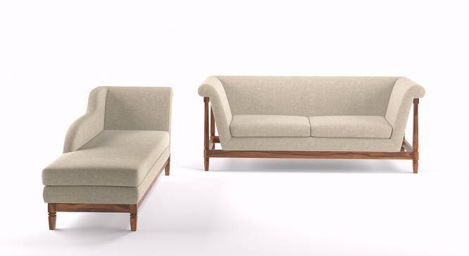 Malabar Wooden Sofa 3 Seater With Chaise (Teak Finish, Macadamia Brown) by Urban Ladder
