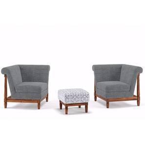 Malabar Wooden Sofa Standard Set 1-1 With Ottoman (Smoke)