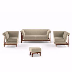 Malabar Wooden Sofa Standard Set 3-1-1 With Ottoman (Macadamia Brown) by Urban Ladder