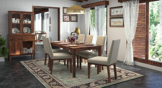 Malabar XL 6 Seater Dining Table Set (With Brass Inlay) (Teak Finish, Macadamia Brown) by Urban Ladder