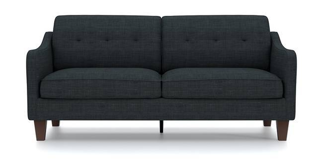 Optimus Sofa (Dark Grey, Fabric Sofa Material, Regular Sofa Size, Soft Cushion Type, Regular Sofa Type, Master Sofa Component, Yes Tufting, Tapered Wooden Leg Design, Swept Arm Arm Set)