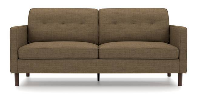 Optimus Sofa (Brown, Fabric Sofa Material, Regular Sofa Size, Soft Cushion Type, Regular Sofa Type, Master Sofa Component, Yes Tufting, Round Wooden Leg Design, Standard Arm Arm Set)