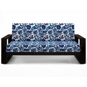 Parsons wooden Sofa 2 seater (Mahogany Finish, Amara - Blue Nectar)