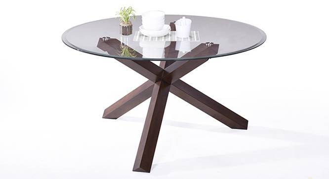 matheson 6 seater round glass top dining table urban ladder