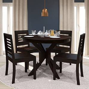 Liana - Capra 4 Seater Round Dining Table Set (Mahogany Finish) by Urban Ladder