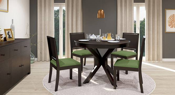 Liana   Oribi 4 Seater Round Dining Table Set (Mahogany Finish, Avocado  Green) ...