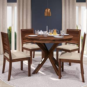 Liana - Oribi 4 Seater Round Dining Table Set (Teak Finish, Wheat Brown) by Urban Ladder