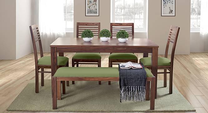 Oribi Upholstered Dining Bench (Teak Finish, Avocado Green) by Urban Ladder