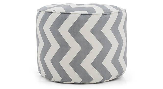 Baggo Round Canvas Pouffe (Large Size, With Beans Variant, Chevron Grey) by Urban Ladder