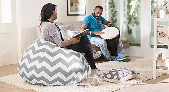 Baggo Canvas Beanbag (Standard Size, With Beans Variant, Chevron Grey) by Urban Ladder