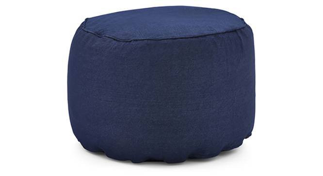 Baggo Round Denim Pouffe (Blue, Large Size, With Beans Variant) by Urban Ladder