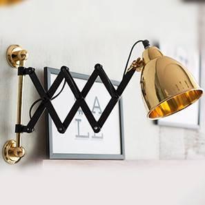 Sheren Extendable Wall Light (Black Base Finish, Brass Shade Colour)