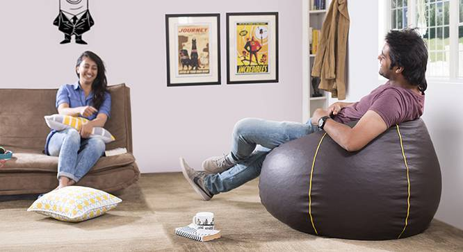 Baggo Leatherette Beanbag (Brown, Standard Size, Without Beans Variant) by Urban Ladder