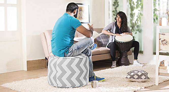 Baggo Round Canvas Pouffe (Large Size, Without Beans Variant, Chevron Grey) by Urban Ladder