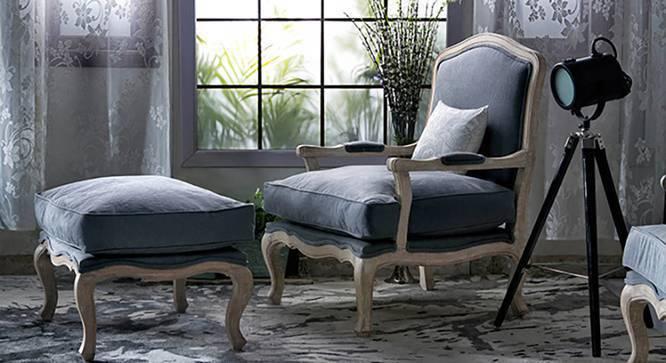 Lyon Armchair (Grey Fabric, Distressed Wood Finish) by Urban Ladder