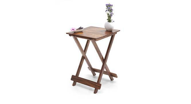 Latt Folding Table/Stool Tall (Teak Finish) by Urban Ladder