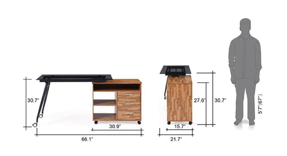 Niccol adjustable study table golden oak 15 16