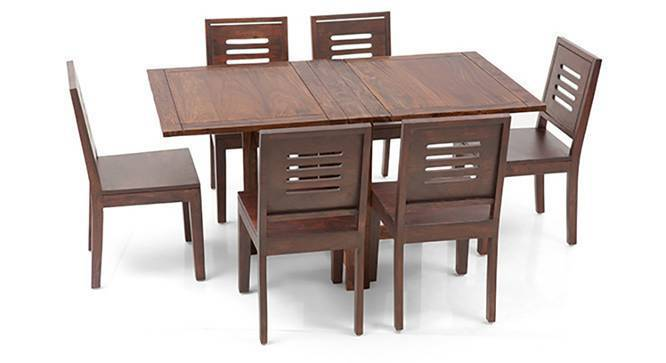Danton 3-to-6 - Capra 6 Seat Folding Dining Table Set (Teak Finish) by Urban Ladder