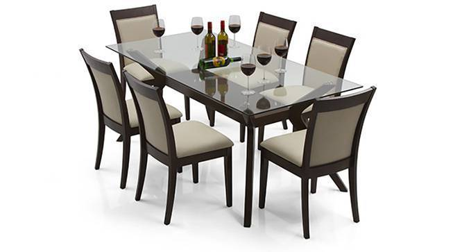 Wesley dalla 6 seater dining table set urban ladder for Dining room tables 6 seater