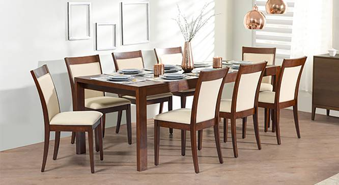 Vanalen 6-to-8 Extendable - Dalla 8 Seater Glass Top Dining Table Set (Dark Walnut Finish, Latte) by Urban Ladder