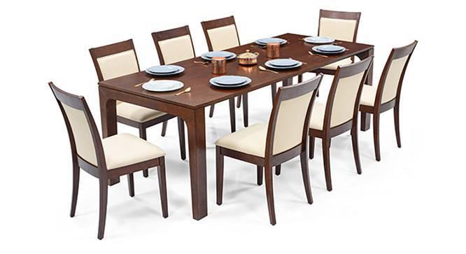 Arco - Dalla 8 Seater Dining Table Set (Dark Walnut Finish, Latte) by Urban Ladder