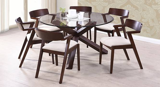Glass Dining Table Set For 2: Thomson 6 Seater Round Glass Top Dining Table