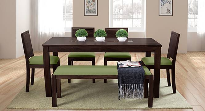 Brighton - Oribi 6 Seater Dining Table Set (With Upholstered Bench) (Mahogany Finish, Avocado Green) by Urban Ladder