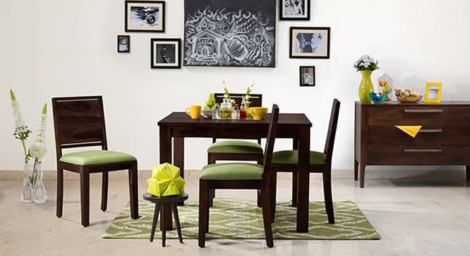 Brighton Square - Oribi 4 Seater Dining Table Set (Mahogany Finish, Avocado Green) by Urban Ladder