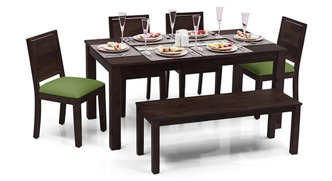 Brighton - Oribi 6 Seater Dining Table Set (With Bench) (Mahogany Finish, Avocado Green) by Urban Ladder