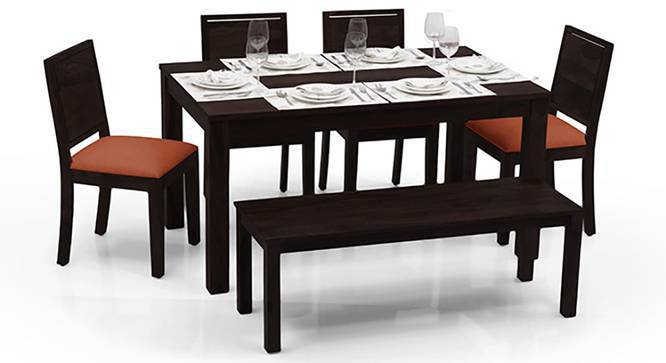 Arabia - Oribi 6 Seater Dining Table Set (With Bench) (Mahogany Finish, Burnt Orange) by Urban Ladder