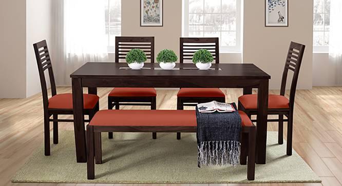 Brighton - Zella 6 Seater Dining Table Set (With Upholstered Bench) (Mahogany Finish, Burnt Orange) by Urban Ladder