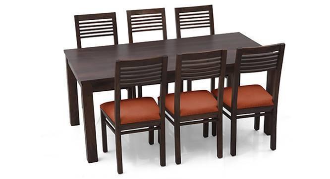 Arabia XL - Zella 6 Seater Dining Set (Mahogany Finish, Burnt Orange) by Urban Ladder