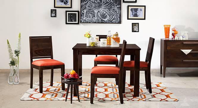 Brighton Square - Oribi 4 Seater Dining Table Set (Mahogany Finish, Burnt Orange) by Urban Ladder