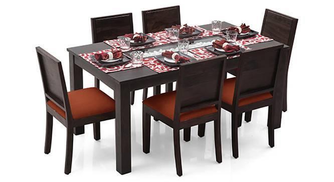 Brighton - Oribi 6 Seater Dining Table Set (Mahogany Finish, Burnt Orange) by Urban Ladder