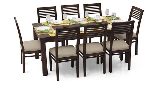 Arabia XL - Zella 8 Seater Dining Set (Mahogany Finish, Wheat Brown) by Urban Ladder