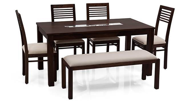 Brighton - Zella 6 Seater Dining Table Set (With Upholstered Bench) (Mahogany Finish, Wheat Brown) by Urban Ladder