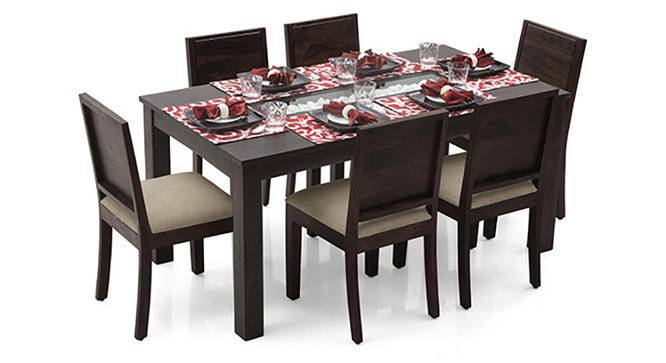 Brighton - Oribi 6 Seater Dining Table Set (Mahogany Finish, Wheat Brown) by Urban Ladder