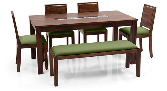 Brighton - Oribi 6 Seater Dining Table Set (With Upholstered Bench) (Teak Finish, Avocado Green) by Urban Ladder