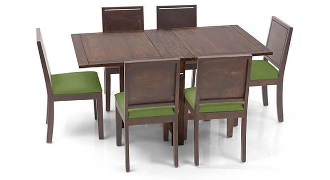 Danton 3-to-6 - Oribi 6 Seater Folding Dining Table Set (Teak Finish, Avocado Green) by Urban Ladder
