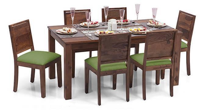 Brighton - Oribi 6 Seater Dining Table Set (Teak Finish, Avocado Green) by Urban Ladder