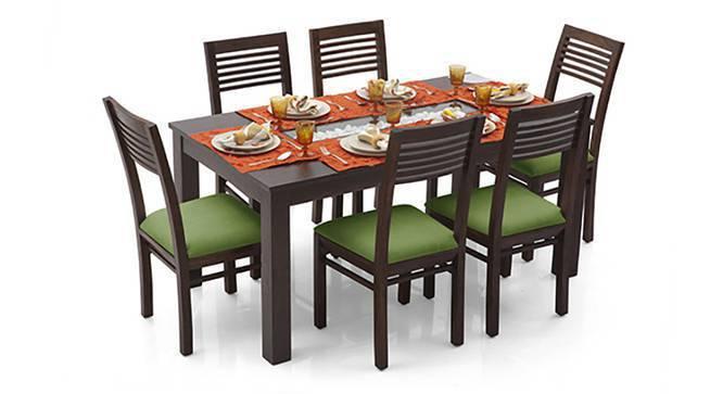 Brighton - Zella 6 Seater Dining Table Set (Teak Finish, Avocado Green) by Urban Ladder