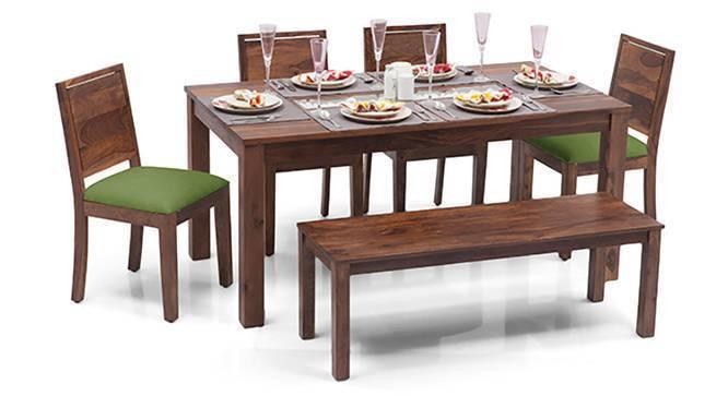 Brighton - Oribi 6 Seater Dining Table Set (With Bench) (Teak Finish, Avocado Green) by Urban Ladder