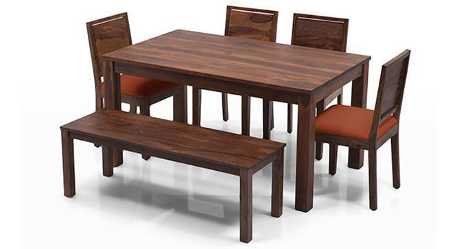 Arabia - Oribi 6 Seater Dining Table Set (With Bench) (Teak Finish, Burnt Orange) by Urban Ladder