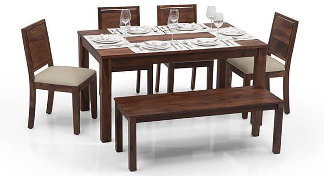 Arabia Oribi 6 Seater Dining Table Set With Bench  : ArabiaOribi4SeaterBenchDiningTableSet01IG0263Teak from www.urbanladder.com size 666 x 363 jpeg 26kB
